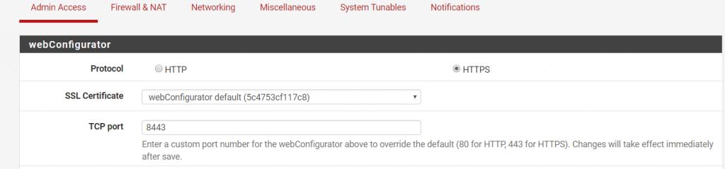 web configurator pfSense