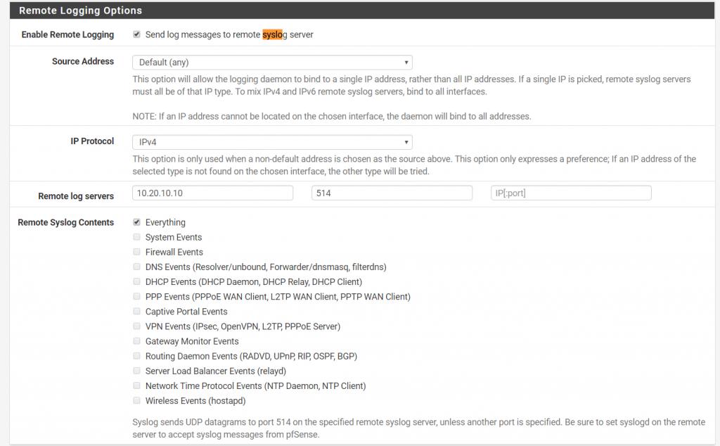 activer l'option Syslog dans pfSense