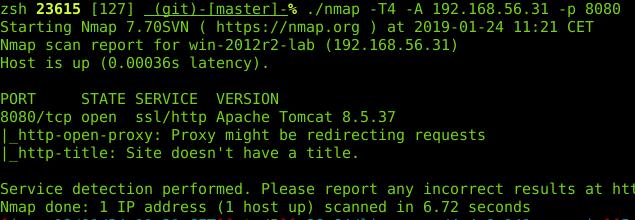 scan nmap tomcat installé - exploitation d'un tomcat