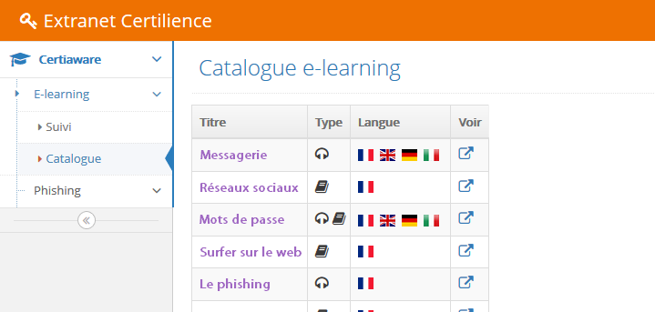 catalogue des formations e-learning CertiAware