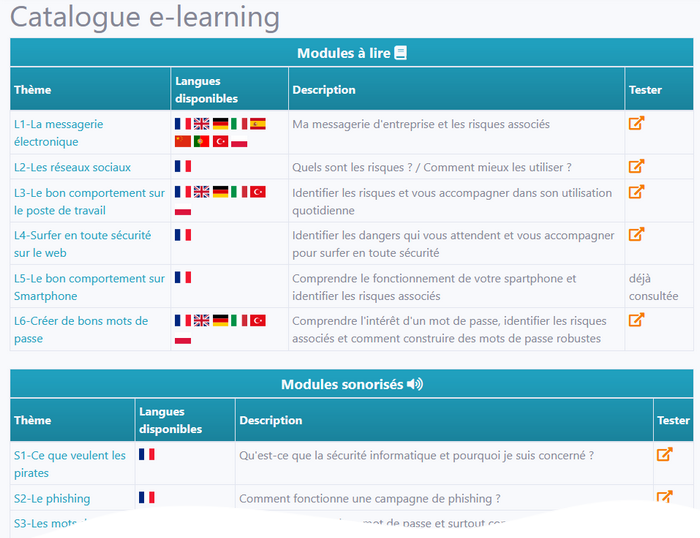 portail certiAware my.Certilience catalogue des formations e-learning