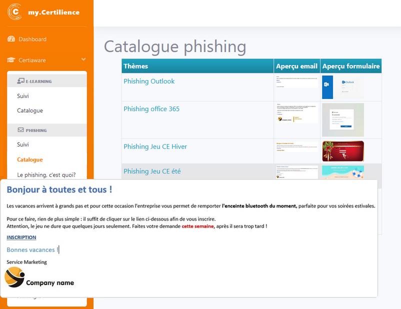 portail certiAware my.Certilience catalogue de phishing