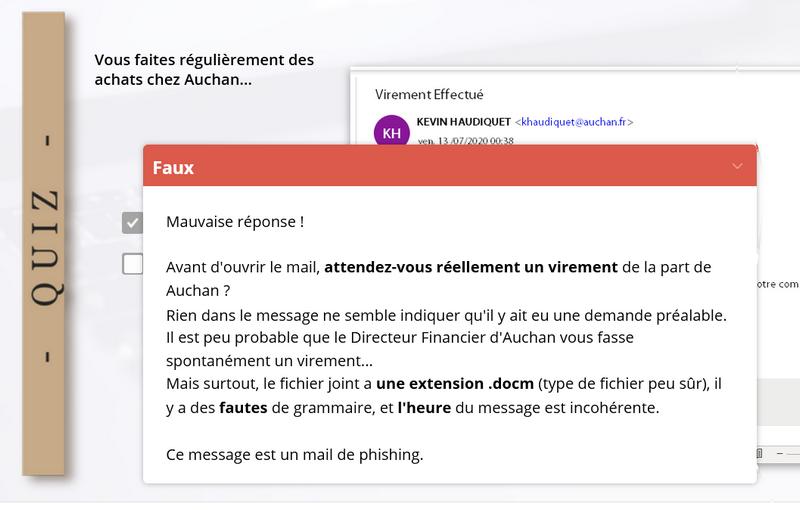 module e-learning Piqûre de Rappel : formation reconnaitre les mails de phishing - réponse au quiz