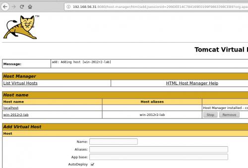 tomcat déploiement fichier etc host vhost
