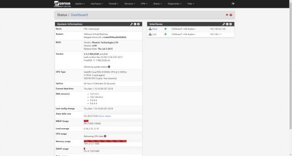 pfSense dashboard pare-feu open source - sécurité informatique