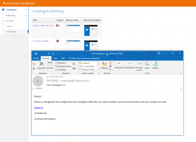 portail my.certilience, catalogue de campagnes de phishing pour sensibiliser les utilisateurs aux emails piégés