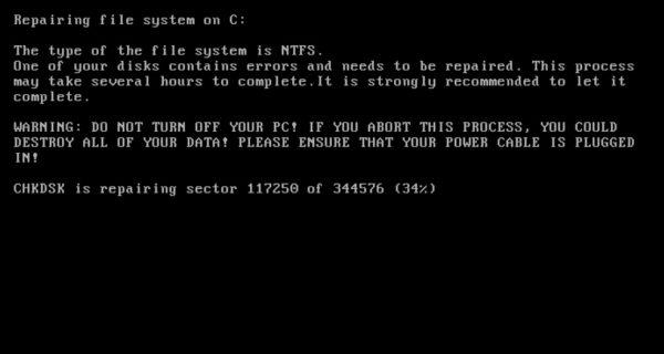 ransomware petya - faux ecran checkdisk