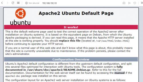 après installation, page Apache par défaut