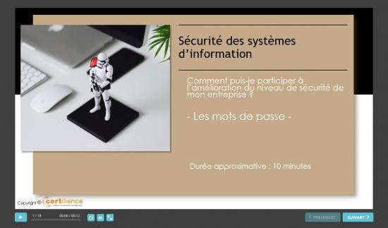 formation e-learning certiAware, ecran d'accueil module mots de passe