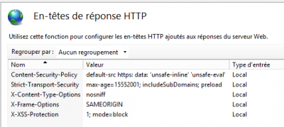 step 2 : gestionnaire IIS add headers, recapitulatif options