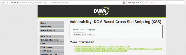 DOM-based XSS - application qui permet de choisir le langage d'affichage de la page