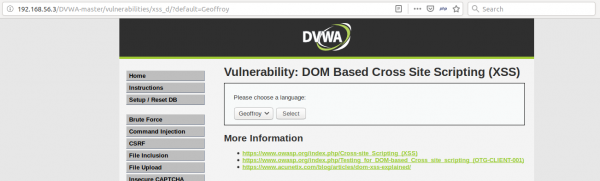 DOM-based XSS - paramètre, contrôlable via l'URL, qui permet de changer la valeur d'un élément du DOM